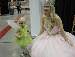 The littlest cosplayer, 15-month-old Emma Andrews, with Peekaboo Cosplay at CAPE on Sunday Lois Ann Baker/Cornwall Standard-Freeholder