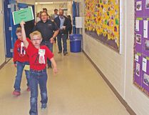 Student guides took visitors on a tour of the many leadership-themed projects at Arrowwood Community School.