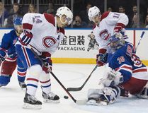 Rangers goalie Henrik Lundqvist (30) tends the net against Canadiens centre Tomas Plekanec (14) during the third period of Game 6 of their first-round NHL playoff series at in New York on Saturday, April 22, 2017. (Mary Altaffer/AP Photo)