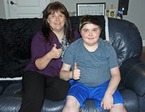 (left to right) Gloria Audette with her superhero son Colby, giving the thumbs up for this year's Colby's Crusade that will take place on May 20 at Riverside Park.