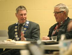 Huron East Mayor Bernie MacLellan talks to council April 18 about the potential enhancing of shared services of fire departments with Huron East and the municipality of Morris-Turnberry. (Shaun Gregory/Huron Expositor)