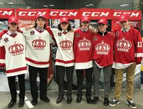Submitted photo The Pembroke Lumber Kings drafted several Bantam stars who will soon be hitting the ice with the club's U-18 squad. Among those selected in the CCHL draft recently were (left to right) Liam Doyle, Connor Peplinskie, Zach Martin, Tyson Tomasini, Sean Tallon and Jacob Duhn,