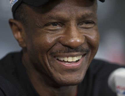 Raptors head Coach Dwane Casey smiles while talking to the media at the Raptors' training facility in Toronto on Sunday, April 23, 2017. (Stan Behal/Toronto Sun)