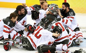 Corbyn Smith (9), of Monkton, celebrates his gold medal championship with his Team Canada teammates at the 2017 IPC World Championships in South Korea last Thursday, April 20. SUBMITTED