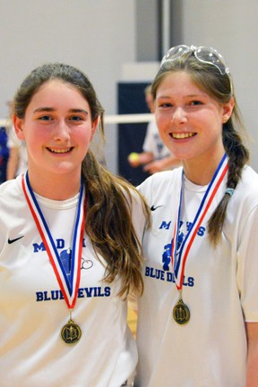 Emily Ruby (left) and Hannah Jubinville of the Mitchell District High School (MDHS) junior girls badminton team, won gold at the Huron-Perth championships last Friday, April 21. SUBMITTED