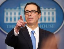 U.S. Treasury Secretary Steve Mnuchin points to a member of the media as he answers questions during the daily briefing in the Brady Press Briefing Room of the White House in Washington, Monday, April 24, 2017. (AP Photo/Pablo Martinez Monsivais)