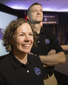 Royal Military College graduates Michelle Whitty and Robert Riddell are among 17 finalists competing to be Canada's next two astronauts. The 17 finalists were announced Monday in Toronto. (Stan Behal/Postmedia Network)