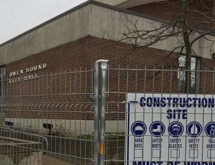 Owen Sound city hall is currently under construction. DENIS LANGLOIS/THE SUN TIMES