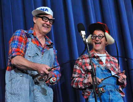 Ted Adams (Gomer), left, and Dave Pond (Jethro) played a pair of local yokels in a hilarious skit at the Simcoe Lions' 66th annual variety show this weekend at Simcoe Composite School. The title of the two-day performance was Back to the Eighties. MONTE SONNENBERG/Simcoe Reformer