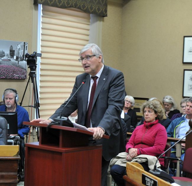 George Weber, president and chief executive officer of the Royal Ottawa Health Care Group, speaks to Brockville council on Tuesday evening. (RONALD ZAJAC/The Recorder and Times)
