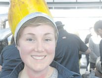 Michelle Inkster of Ancaster dons an appropriate hat for the Niagara College Teaching Brewery beer festival featuring brews by graduating students. (Wayne Newton/Special to Postmedia News)