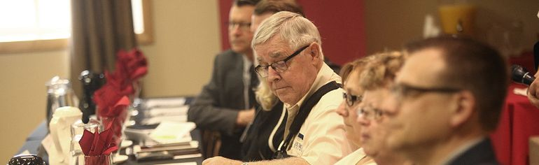Huron County Municipal Officers' Association president Joe Steffler listens closely at an annual meeting in Seaforth last week. He told the Expositor that the main topic of discussion was shared services. (Shaun Gregory/Huron Expositor)