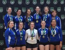 The Simcoe Xtreme 18U volleyball team captured the Ontario Volleyball Association Division 2 Tier 2 title in Waterloo this past weekend. Back row from left, Josie Hall, Abby Schneider, Julia Knelsen, Casie Hall, Jessica Doerksen, coach Patti Cote. Front row, Victoria Scheers, Claire Weaver, Courtney Cridland, Emily Killingbeck, Megan Hill. Absent, coach Paige Martin. Contributed Photo