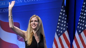 In this Feb. 12, 2011 file photo, Ann Coulter waves to the audience after speaking at the Conservative Political Action Conference (CPAC) in Washington.   (AP Photo/Cliff Owen, File)