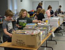 Grade 4-5 French Immersion students from Port Elgin's St. Joseph School packed bags with donated school supplies and treats for students in Third World countries April 24 at St. Joseph's Church hall, volunteering with Bags for Love program.