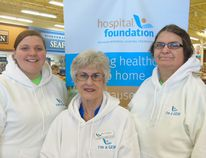 Foundation member Mary McCallum (centre) handed out GEM information to Rowland's employees Hillary Kemper and Dean Hunks, April 22, at Rowland's Your Independent Grocer in Port Elgin. Frances Learment/Shoreline Beacon