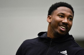 Top NFL prospect Myles Garrett talks to the media during his pro day last month. (AP PHOTO)