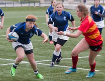 Zoe Spronk of the Kingston Blues races up Nixon Field on opening day of the Kingston Area Secondary Schools Athletic Association girls rugby season last Thursday. The Blues downed the Sydenham Golden Eagles, 15-12. Eight teams are involved in girls rugby, compared to five in senior boys. (Tim Gordanier/The Whig-Standard)