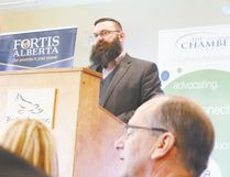 Minister of municipal affairs and MLA for Leduc-Beaumont Shaye Anderson gave an update at the Leduc Regional Chamber of Commerce luncheon April 21. Nouran Abdellatif/Rep Staff
