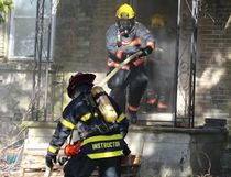 Bruce County firefighters took in real fire situations on April 22, 2017 outside Ripley. Both practical and theory training brought 140 firefighters together for two days of courses conducted at five different locations. An old farm house on Hwy 21 was set aflame multiple times during the training and firefighters learned different approaches to putting out fires on all levels in the home.