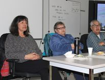 (L to R) Helene Johnson, Evelyn Burns and Riley Burns talked to a large group of students and staff at the elders-in-residence meet and greet at Cumberland College on Wednesday, April 26.