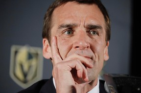 Vegas Golden Knights general manager George McPhee listens during a news conference on April 13, 2017. (THE CANADIAN PRESS/AP/John Locher)