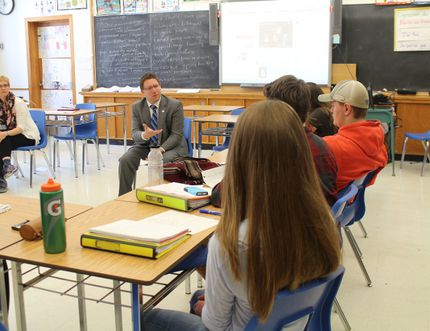 Perth-Wellington MP John Nater speaks to Grade 11 and 12 students in the combined Northwestern/Central senior french class on April 26. The class took part in the Maple Shot Challenge this year. (MEGAN STACEY/The Beacon Herald)