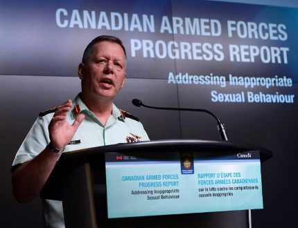 Jonathan Vance, the Chief of the Defence Staff speaks during a Canadian Armed Forces press conference at the National Defence Headquarters in Ottawa on Friday, April 28, 2017, addressing inappropriate sexual behaviour in the forces. THE CANADIAN PRESS/Sean Kilpatrick