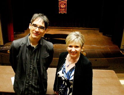 Adjudicators Frank Horvat and Lisa Cosens Brillon pose at the Brockville Arts Centre on Thursday, the final day of adjudication at the Brockville Lions Music Festival. (RONALD ZAJAC/The Recorder and Times)