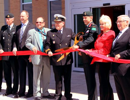 Sean Chase/Daily Observer The Petawawa CANEX Supermart officially opened its doors Friday. In the ribbon cutting ceremony were (left to right) Chief Warrant Officer Bill Richards, 4th Canadian Division Support Group Formation Sergeant-Major, Renfrew-Nipissing-Pembroke MPP John Yakabuski, CANEX general manager Gerry Doner, Commodore Sean Cantelon, director general of Canadian Forces Morale and Welfare Services, Col. Mark Misener, commander of 4th Canadian Division Support Group, Renfrew-Nipissing-Pembroke MP Cheryl Gallant, and Petawawa Mayor Bob Sweet.