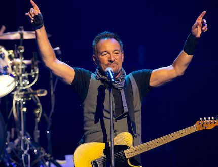Musician Bruce Springsteen performs with The E Street Band at the AccorHotels Arena in Paris on July 11, 2016. (BERTRAND GUAY/AFP/Getty Images)