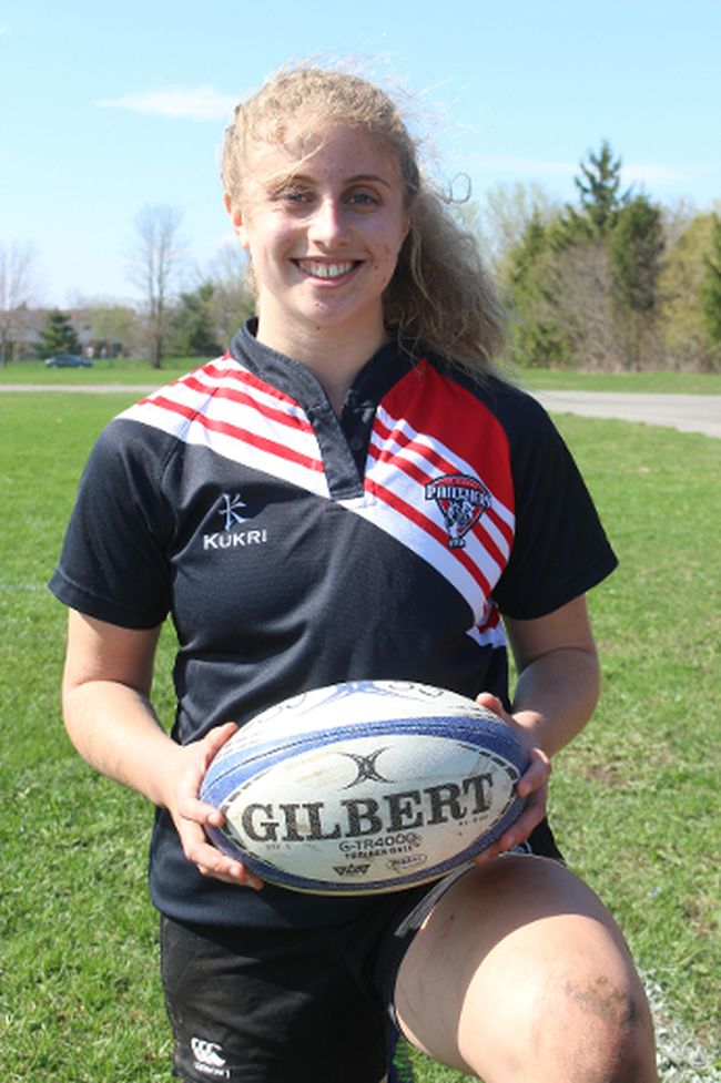 <p>Madison Grant, 16, a dominant rugby player for the St. Joseph's Panthers, is into Rugby Canada's developmental program, and she's taking aim at the 2020 Summer Olympics in Tokyo, Japan, hoping to be playing for Canada's rugby sevens team. Photo on Friday, April 28, 2017, in Cornwall, Ont. </p><p>