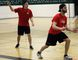 St. Mary's Knights Senior Men's Doubles teammates Austin Rowe (left) and Jonny Hammond practice in preparation for this week's OFSAA badminton championships in Pain Court, Ont.