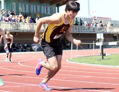 Mathieu Plamondon set a pair of new records at the 2017 Laurentian University Black Flies Track & Field Meet on Saturday, highlighting numerous podium finishes for the École secondaire catholique Thériault Flammes. BENJAMIN AUBÉ/DAILY PRESS FILE PHOTO
