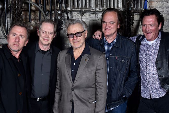 "Actors Tim Roth, Steve Buscemi, Harvey Keitel, Quentin Tarantino and Michael Madsen pose for a ""Reservoir Dogs"" Cast Reunion Portrait during 2017 Tribeca Film Festival on April 28, 2017 in New York City. (Photo by Theo Wargo/Getty Images)"