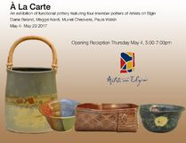 Artists on Elgin will be featuring four member potters in a group exhibition , A La Carte, for the month of May. Supplied illustration