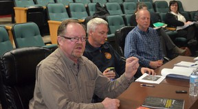 A draft wildfire mitigation strategy was presented to Whitecourt Town Council on April 24. Left to right: Herman Stegehuis of Silvacom Ltd., Whitecourt Fire Chief Brian Wynn and Jay Granley, director of community safety (Jeremy Appel | Whitecourt Star).