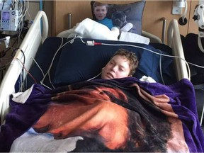 Jonathan Pitre received some good news Thursday when blood tests revealed the first sign of white blood cell growth. TINA BOILEAU / -