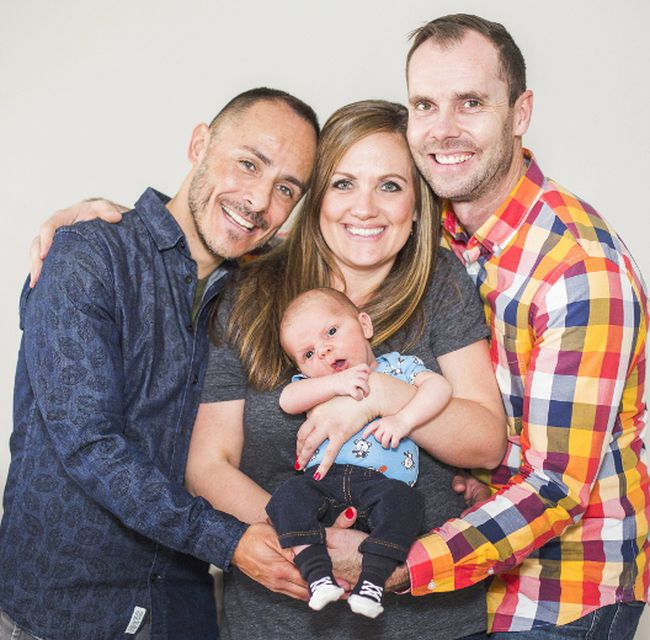 Surrogate mother Ann with Augustine and parents Pierre and Tom Tuesday April 11 2017 . Bob Tymczyszyn/St. Catharines Standard/Postmedia Network