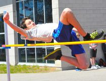 Carter Saracuse takes part in the Delhi District Secondary School midget boys high jump competition Wednesday afternoon. Saracuse finished second in the event by clearing 1.50m. JACOB ROBINSON/Simcoe Reformer