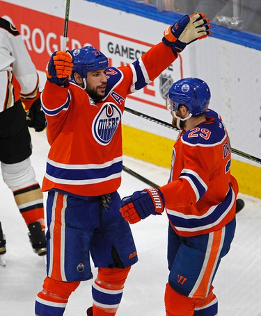 Edmonton Oilers Milan Lucic (left) celebrates his first period goal against the Anaheim Ducks with team mate Leon Draisaitl (right) during the fourth game of their Stanley Cup playoff series in Edmonton on Wednesday May 3, 2017. (PHOTO BY LARRY WONG/POSTMEDIA)