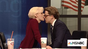 """Kate McKinnon as Mika Brzezinski and Alex Moffat as Joe Scarborough in the cold open of """"Saturday Night Live"""" on May 6, 2017. (Video screenshot)"""