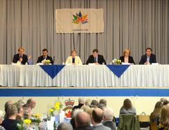 Federal Conservative leadership candidates, from left, Chris Alexander, Michael Chong, Kellie Leitch, Pierre Lemieux, Lisa Raitt, and Andrew Scheer at the Bruce-Grey-Owen Sound Conservative Electoral District Association barbecue in Hepworth on Saturday. (Rob Gowan The Sun Times)