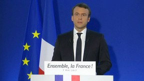 In this image taken from video footage, Emmanuel Macron speaks after his victory in France's presidential runoff, at his campaign headquarters in Paris, Sunday, May 7, 2017.  (AP Photo)