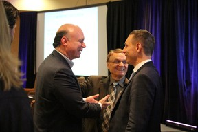 Ontario Progressive Conservative party leader Patrick Brown, right, talks with John Capobianco of the Ontario Chamber of Commerce, left, and Sarnia Coun. David Boushy during the chamber's annual meeting. (NEIL BOWEN/The Observer)