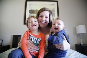 """Meg """"The Blissful Doula"""" Kant with her children, two-year-old Gibson and four-month-old Miller. Gino Donato/Sudbury Star"""