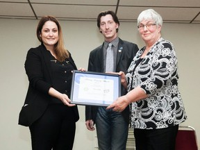 Rotary Club of Vermilion member Tannis Frantik and President Justin Thompson present Carol Selte the 2017 Integrity Award, during their 62nd Charter Night at the Vermilion Senior Citizen's Centre on Sunday, April 30, 2017, in Vermilion, Alta. Taylor Hermiston/Vermilion Standard/Postmedia Network.