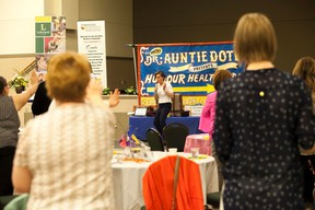No Limits Keynote Speaker Leah Goldstein demonstrates self defense techniques at the Vermilion Chamber of Commerce's annual Women's Conference at the Vermilion Regional Centre on Thursday, May 4, 2017, in Vermilion, Alta. Taylor Hermiston/Vermilion Standard/Postmedia Network.