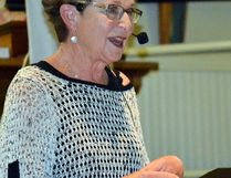 Evie Wallace spoke in front of over 50 people at St. Andrew's Dying with Dignity event, where she shared the story of her husband Hugh as he got so sick he decided it would be best to end his life early rather than entirely lose himself to MS and cancer.