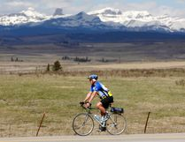 Randonneur Dan Paarsmarkt cycles down Horse Creek Road on Thursday, during a daily training run of 50 kilometres or more, as he prepares for several rides this summer which are 200, 300, 400, 600 and 1,200 kilometres long.